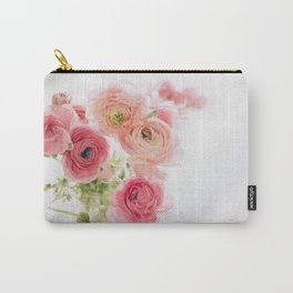 Pink Ranunculus, White Background Carry-All Pouch