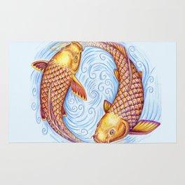 Pisces Fish Yin Yang Mandala Rug