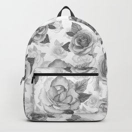Hand painted black white watercolor roses floral pattern Backpack