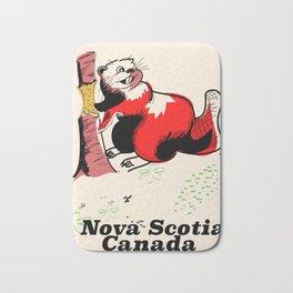 Nova Scotia canada beaver travel poster Bath Mat