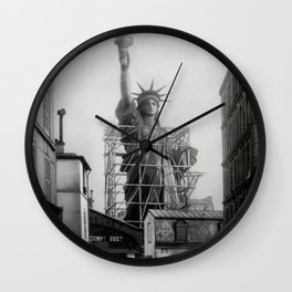 Piecing Together of the Architecture of the Statue Of Liberty In Paris, 1886 black and white photograph Wall Clock