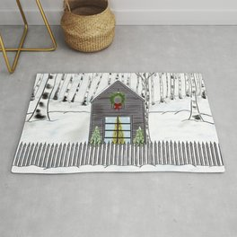 Christmas Cabin In The Snowy Woods Rug