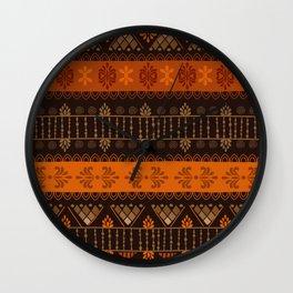 Orange & Black Boho Geometric Pattern Wall Clock