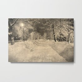Wonderful winter night snowy street Metal Print