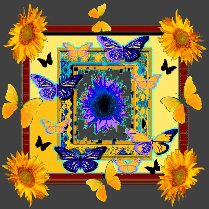 FANTASY ART PURPLE & YELLOW BUTTERFLIES SUNFLOWER Comforters