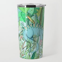 Improbable Botanical with Dinosaurs - soft pastels Travel Mug