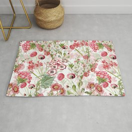 Vintage & Shabby Chic - Pink and White Summer Flowers Garden Rug