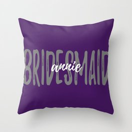 Bridesmaid Plum Grey Throw Pillow