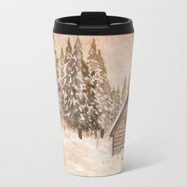 Warm Winter Cabin Travel Mug