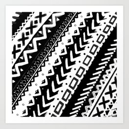 TRIBAL DIAGONAL BLACK AND WHITE PATTERN PAINTED MULTI MEDIA Art Print