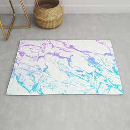 White marble purple blue turquoise ombre watercolor mermaid pattern Rug