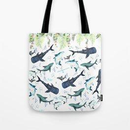 floral shark pattern Tote Bag