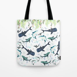 floral shark pattern Tote Bag