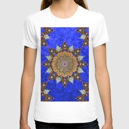 Gold Mandala in Blue T-shirt