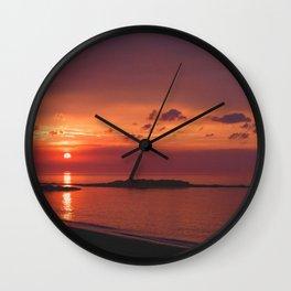 Red Orange Sunset Wall Clock