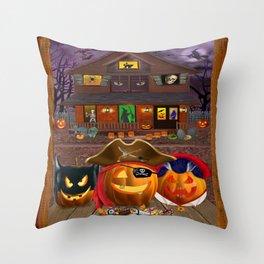 Halloween Pumpkin Masquerade Throw Pillow