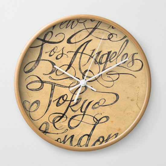 freehand cities Wall Clock