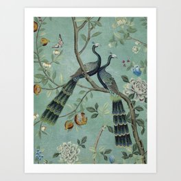 A Teal of Two Birds Chinoiserie Art Print