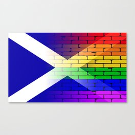 Gay Rainbow Wall Scotland Flag Canvas Print