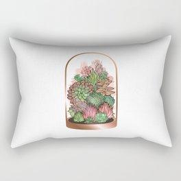 Succulent Terrarium in Rose Gold Rectangular Pillow