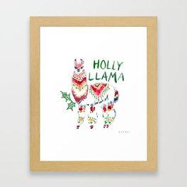 HOLLY LLAMA Holiday Watercolor Framed Art Print