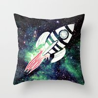 spaceship Throw Pillows featuring Spaceship by Cs025