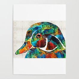 Colorful Wood Duck Art by Sharon Cummings Poster