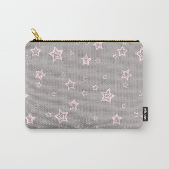 Pink little stars on grey on #Society6 Carry-All Pouch