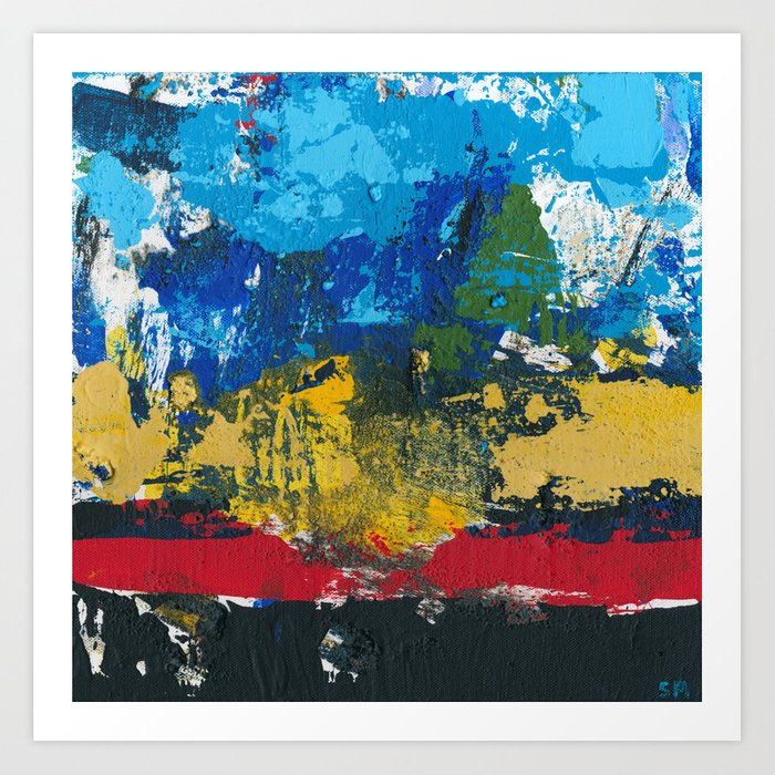 Lucas Abstract Painting Blue Black Yellow Art Print