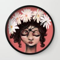 daisies Wall Clocks featuring Daisies by Jaleesa McLean