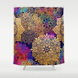 Bohemian 1960's Mandala Pattern of Rainbow Colors Shower Curtain