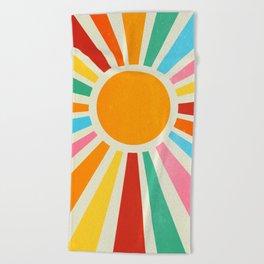 Retro Sunrise: Rainbow Edition Beach Towel