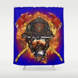 Firefighter rescue volunteer Shower Curtain