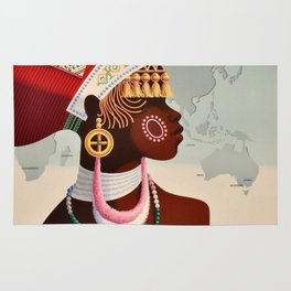 South Africa, Qantas - Vintage  Poster Rug