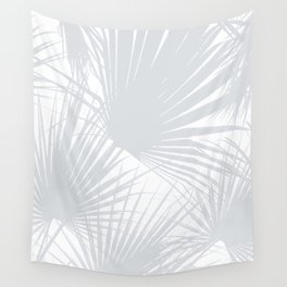 Pale Grey Tropical Leaves Wall Tapestry