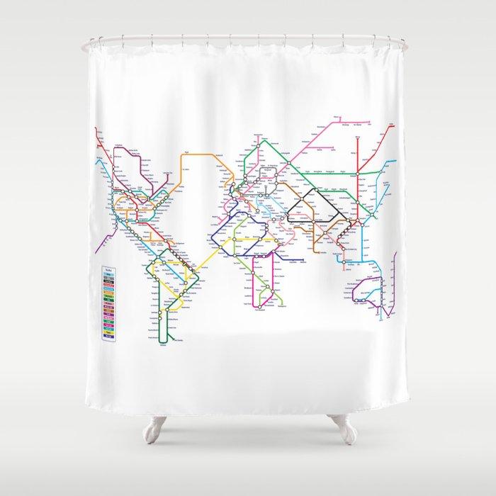 World Metro Subway Map Shower Curtain