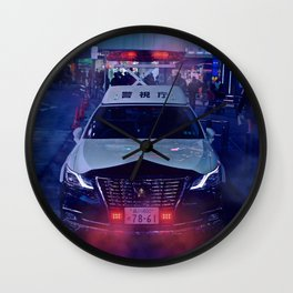 Tokyo Police Car in the fog Wall Clock