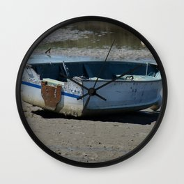 Blue Boat In Mud Wall Clock