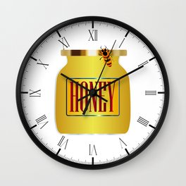 Honey Pot And Bee Wall Clock