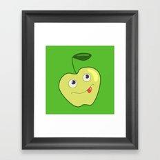 Cute Smliing Green Cartoon Apple Framed Art Print