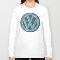 vw bus Long Sleeve T-shirts featuring Black Beauty VW Bus by wildVWflower