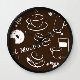 Coffee Background Pattern - 04 Dark Wall Clock