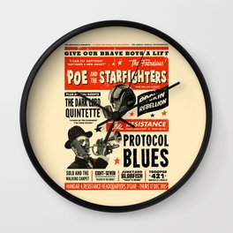 Poe and the Starfighters Wall Clock