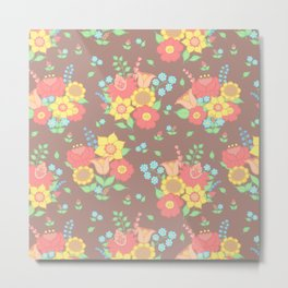 Retro floral groups - brown, mixed colours Metal Print