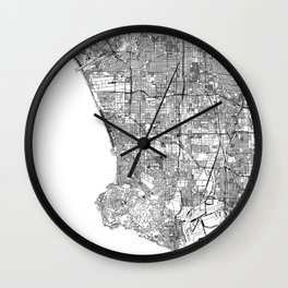 Los Angeles White Map Wall Clock