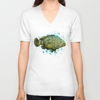 biology V-neck T-shirts featuring Goliath Grouper ~ Watercolor by Amber Marine