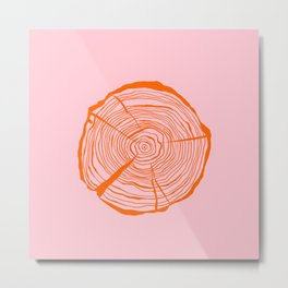 Tree Ring Red and Pink Metal Print