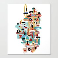 mid century Canvas Prints featuring Mid Century One by Tina Carroll