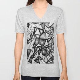 greyscale polygons vector Unisex V-Neck