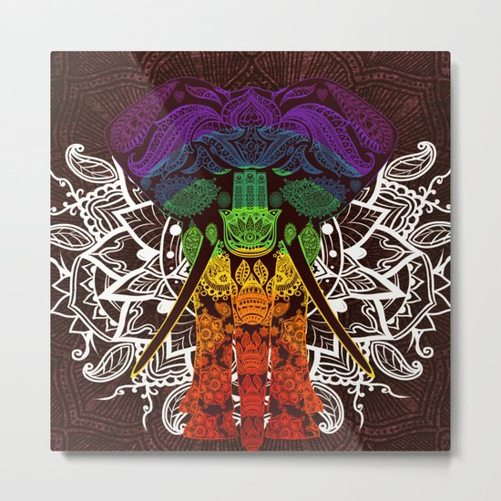 Indian Elephant Mandala Purple Blue Green Yellow Orange Metal Print